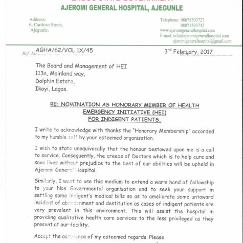 Ajeromi General Hospital Nomination