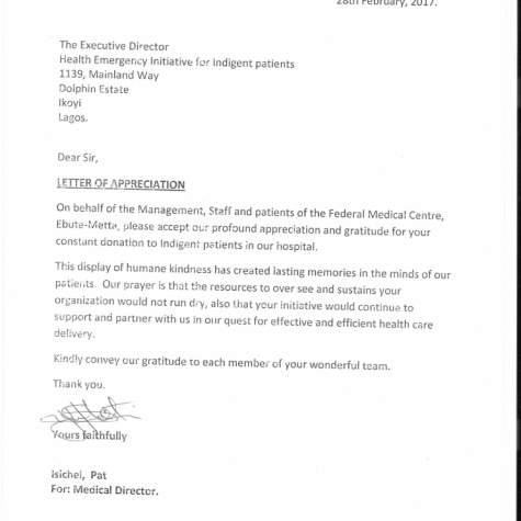 Appreciation from Federal Medical centre