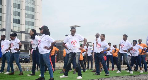 Exercise with PWC before Charity walk